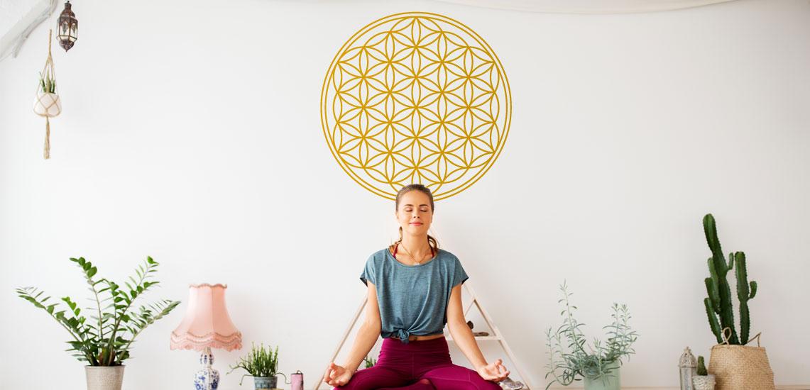 Lebensblume Blume des Lebens Inneneinrichtung Yoga Aufkleber Hipster