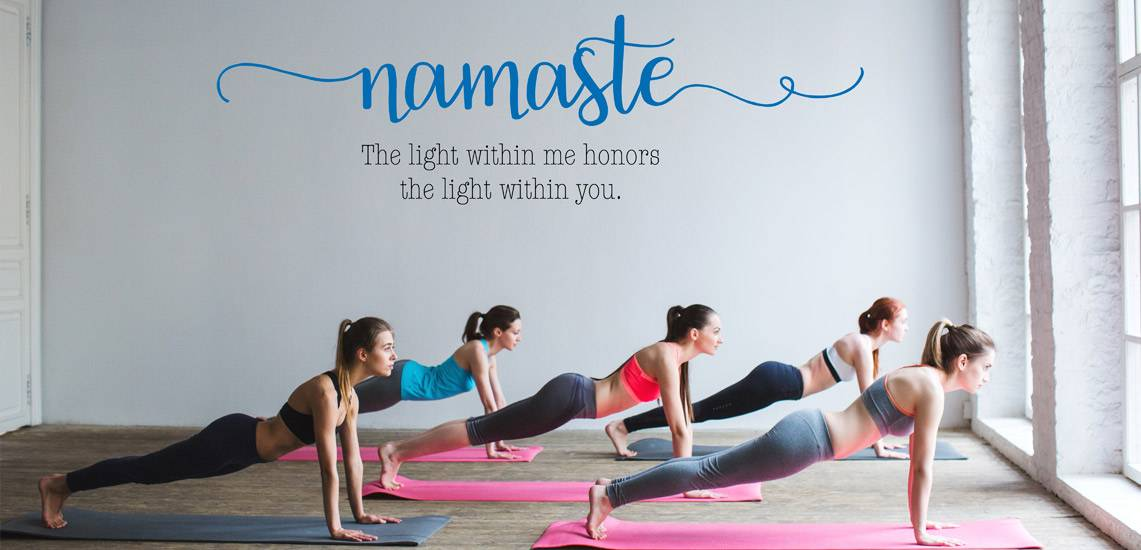 Namaste Wandtattoo Yoga